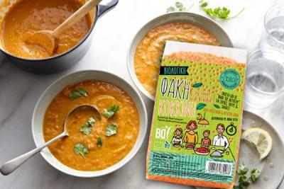 Θρεπτική σούπα με κόκκινες φακές βιολογικές και λεμόνι