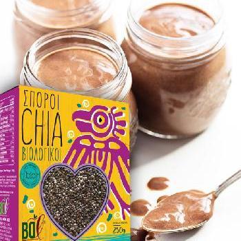 Πουτίγκα με σοκολάτα και βιολογικούς σπόρους chia